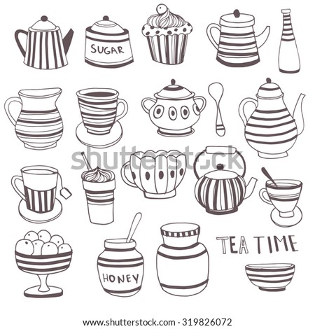 Set of the tea time elements.Tea and Cake background. - stock vector
