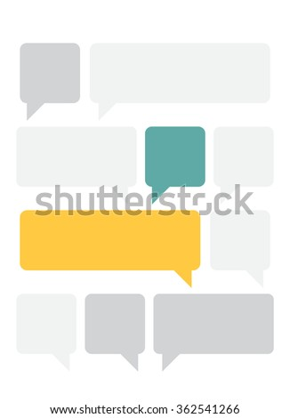 Set of the vector design elements of the empty gray, blue and yellow text boxes. Concept of the happy communication in the two highlighted text boxes in the yellow and blue color. - stock vector