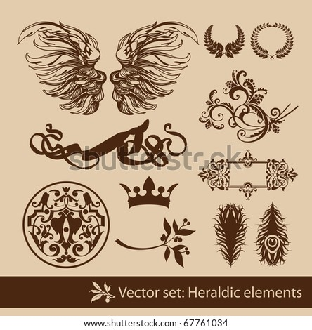 Set of the vintage heraldic elements. Isolated. - stock vector
