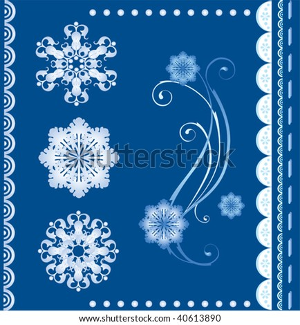 set of  the winter design elements - stock vector