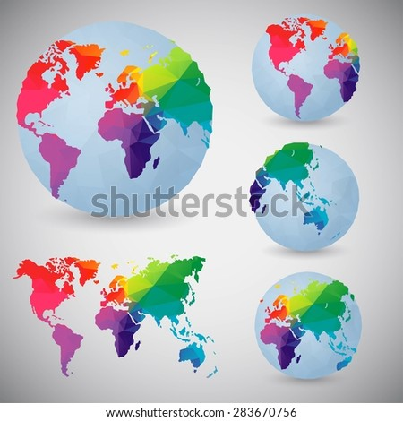 Set of the world globes. World map. Low poly vector illustration. - stock vector