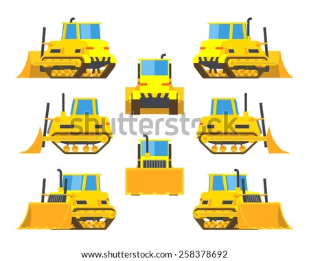 Set of the yellow bulldozers. The objects are isolated against the white background and shown from different sides - stock vector