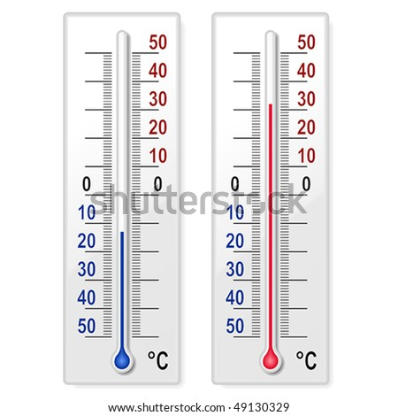Set of thermometers - stock vector