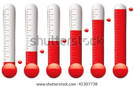 set of thermometers with different levels of indicator fluid - stock vector