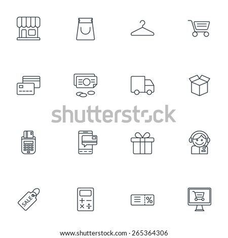 Set of Thin Line Business and Shopping Icons. Vector Illustration - stock vector