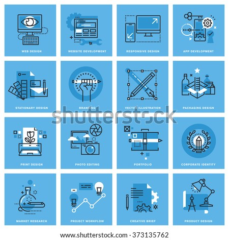 Set of thin line concept icons of different categories of graphic design, website and app design and development, project workflow. Premium quality icons for website, mobile website and app design. - stock vector