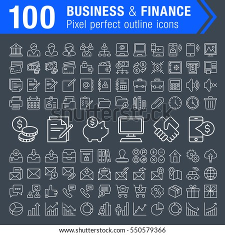 Set of 100 thin line finance, banking and business icons for mobile apps and web design.  Pixel perfect trendy thin line icons. Editable stroke.