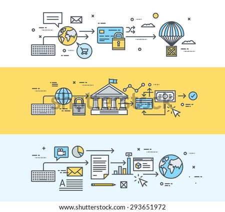 Set of thin line flat design banners for online payment, e-banking, e-commerce, sharing business documents, software, online business communication - stock vector