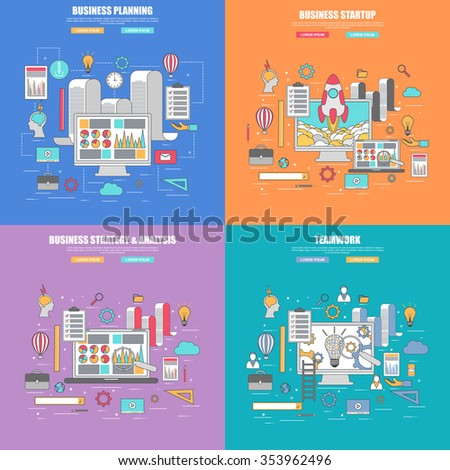 Set of 4 thin line flat design concept for business planning, strategy and analysis, startup and teamwork, infographic elements vector illustration. Concepts for web banner and printed materials. - stock vector