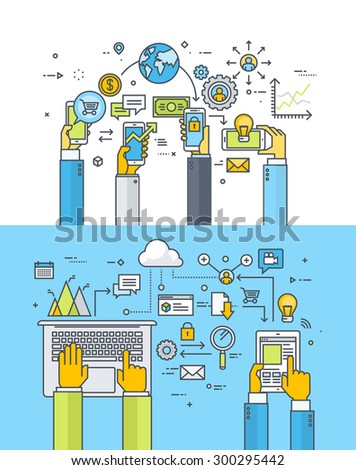 Set of thin line flat design concepts for mobile business and finance, m-banking, m-commerce, cloud computing, online business communication and services. Vector illustrations for web banners. - stock vector