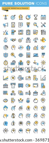 Set of thin line flat design icons of business, marketing and finance. Icons for websites, mobile websites and apps, easy to use and highly customizable. - stock vector
