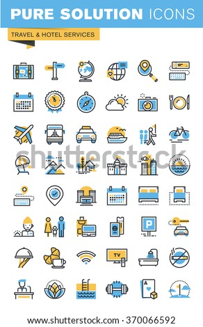 Set of thin line flat design icons of travel and hotel services. Icons for websites, mobile websites and apps, easy to use and highly customizable. - stock vector