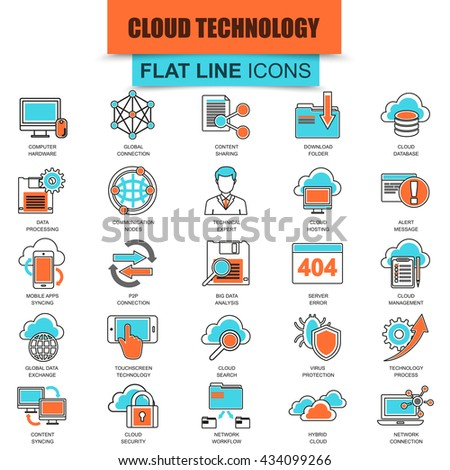 Set of thin line flat icons for cloud data technology services, global connection. Linear symbols. - stock vector
