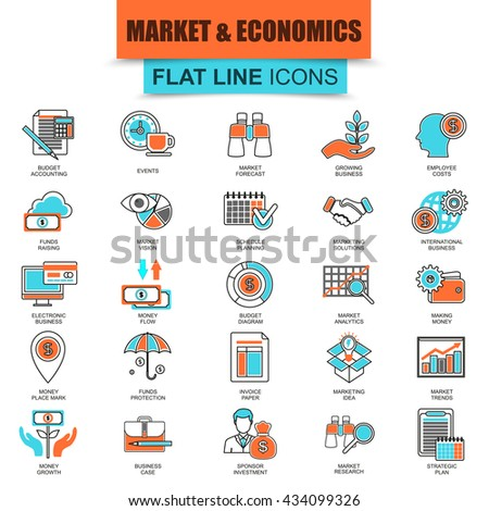 Set of thin line flat icons for market and economics, financial services, money savings. Linear symbols. - stock vector