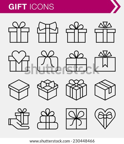 Set of thin line gift icons. - stock vector
