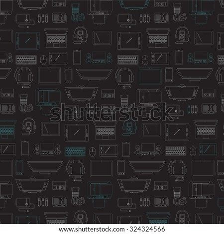 Set of  thin line high-tech icons. Trendy linear  vector icons. Collection of vector outlined  computer and communication electronic devices.  - stock vector