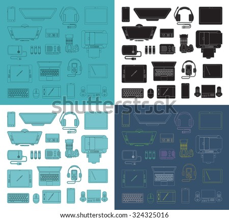 Set of  thin line high-tech icons. Trendy linear  vector icons. Collection of vector outlined  computer and communication electronic devices - stock vector