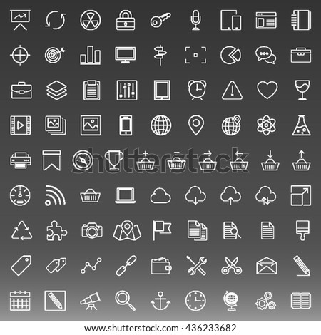 Set of 81 Thin Line Icons. Business, Technology, E-Commerc, Shopping.