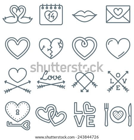 Set of 16 Thin Line Icons for Valentine's Day - stock vector