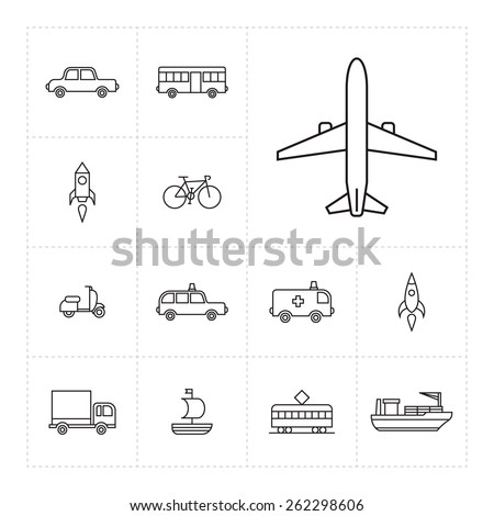 Set of thin line icons with different vehicles - stock vector