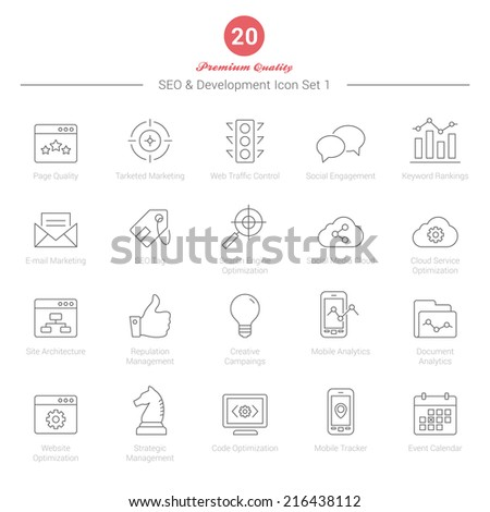 Set of Thin Line SEO and Development icons Set 1 Vector Illustration - stock vector