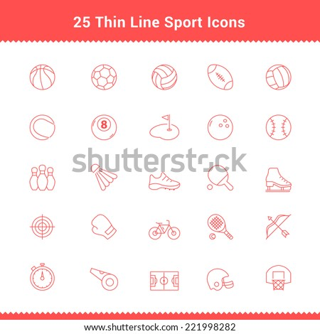 Set of Thin Line Stroke Sport Icons Vector Illustration - stock vector