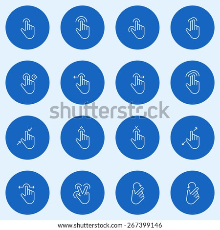 Set of Thin Line Touch Gestures Icons. Vector Illustration - stock vector