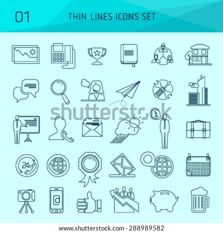 Set of thin line web icons and vector logos. Workflow production tool, company brand development, marketing services. Modern info graphic outline pictogram concept, easy editable for Your design. - stock vector