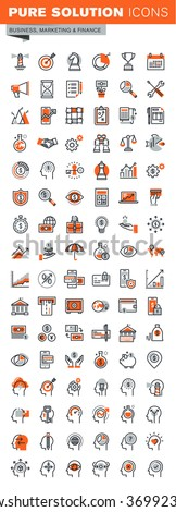 Set of thin line web icons for graphic and web design and development. Icons of business solutions, banking, money transfer, online payment and security, market research, human brain process. - stock vector