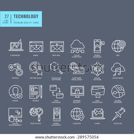 Set of thin line web icons for technology - stock vector