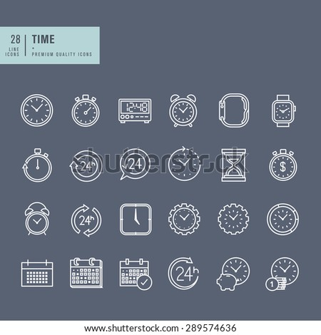 Set of thin line web icons on the theme of time - stock vector