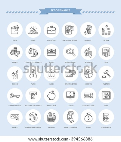 Set of thin, lines, outline financial service items icons, banking accounting tools, stock market global trading and money objects and elements. Flat thin line vector icons modern design style - stock vector