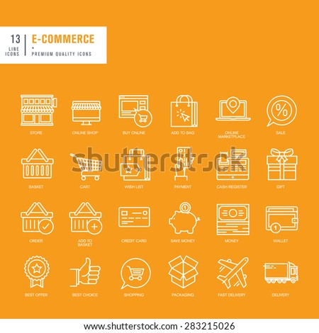 Set of thin lines web icons for e-commerce - stock vector
