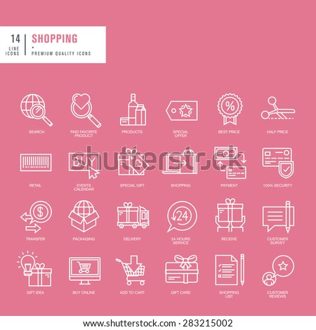Set of thin lines web icons for online shopping - stock vector