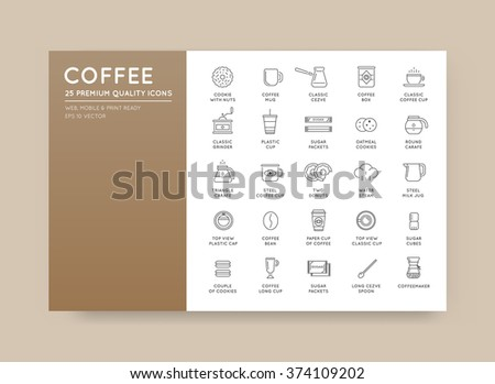 Set of Thin Vector Coffee Elements and Coffee Accessories Illustration can be used as Logo or Icon in premium quality - stock vector