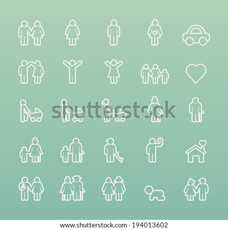 Set of Thin White Stroke Family Icons on colored Background. - stock vector