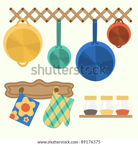 set of things for kitchen - stock vector