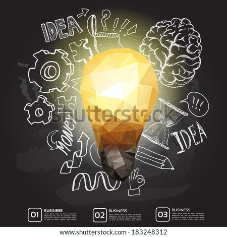 Set of thinking doodles elements, idea triangle card on chalkboard - stock vector