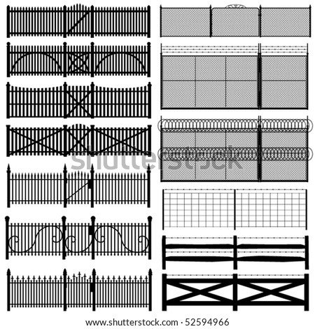 Set of thirteen black fences in various styles - stock vector