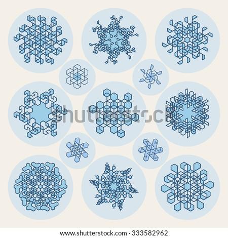 Set of Thirteen Vector Line Art Stroke Offset Geometric Blue Snowflake Shape Design Abstract Background Elements - stock vector