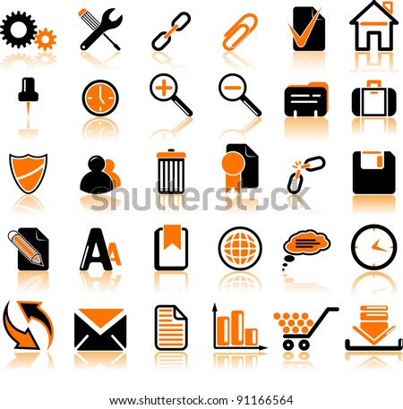 Set of thirty computer's icons - stock vector