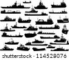 Set of 31 (thirty one) silhouettes of sea yachts, towboat, battleship and ships - stock photo