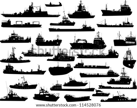 Set of 31 (thirty one) silhouettes of sea yachts, towboat, battleship and ships - stock vector