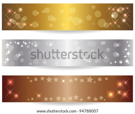 Set of three abstract banners with shining stars. Vector Illustration. - stock vector