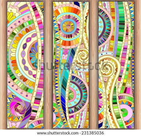 Set of three abstract doodle ethnic tribal hand drawn vector cards on wood background. Paisley batik background. Series of template frame design for card. Pattern with geometric mosaic elements. - stock vector