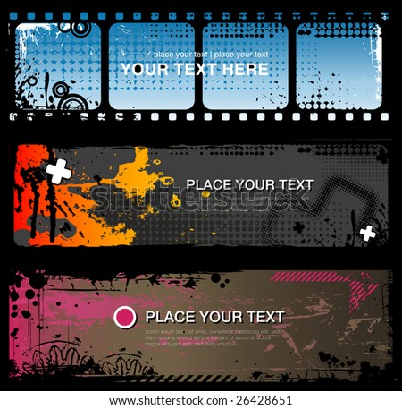 set of three abstract grungy banners - stock vector