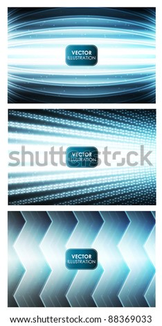 Set of three abstract shiny backgrounds - stock vector
