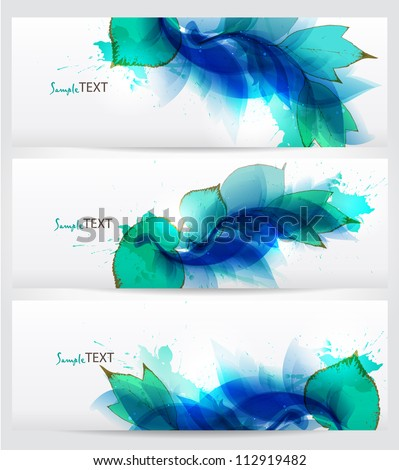 set of three banners, abstract floral blue elements with blots. Vector design - stock vector