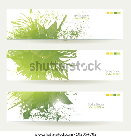set of three banners, abstract headers with green blots - stock vector