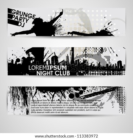 set of three banners, abstract headers with grunge blots. Grunge banner with an inky dribble strip with copy space. Abstract background for party - stock vector